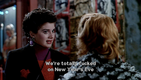 "two white women on a dark street with the caption ""We're totally fucked on New Year's Eve"""