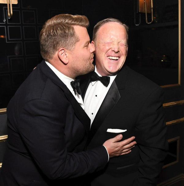 Sean Spicer and James Corden