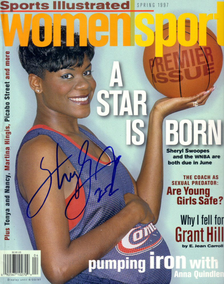 Sheryl Swoopes pregnant on the Spring 1997 cover of Sports Illustrated Women