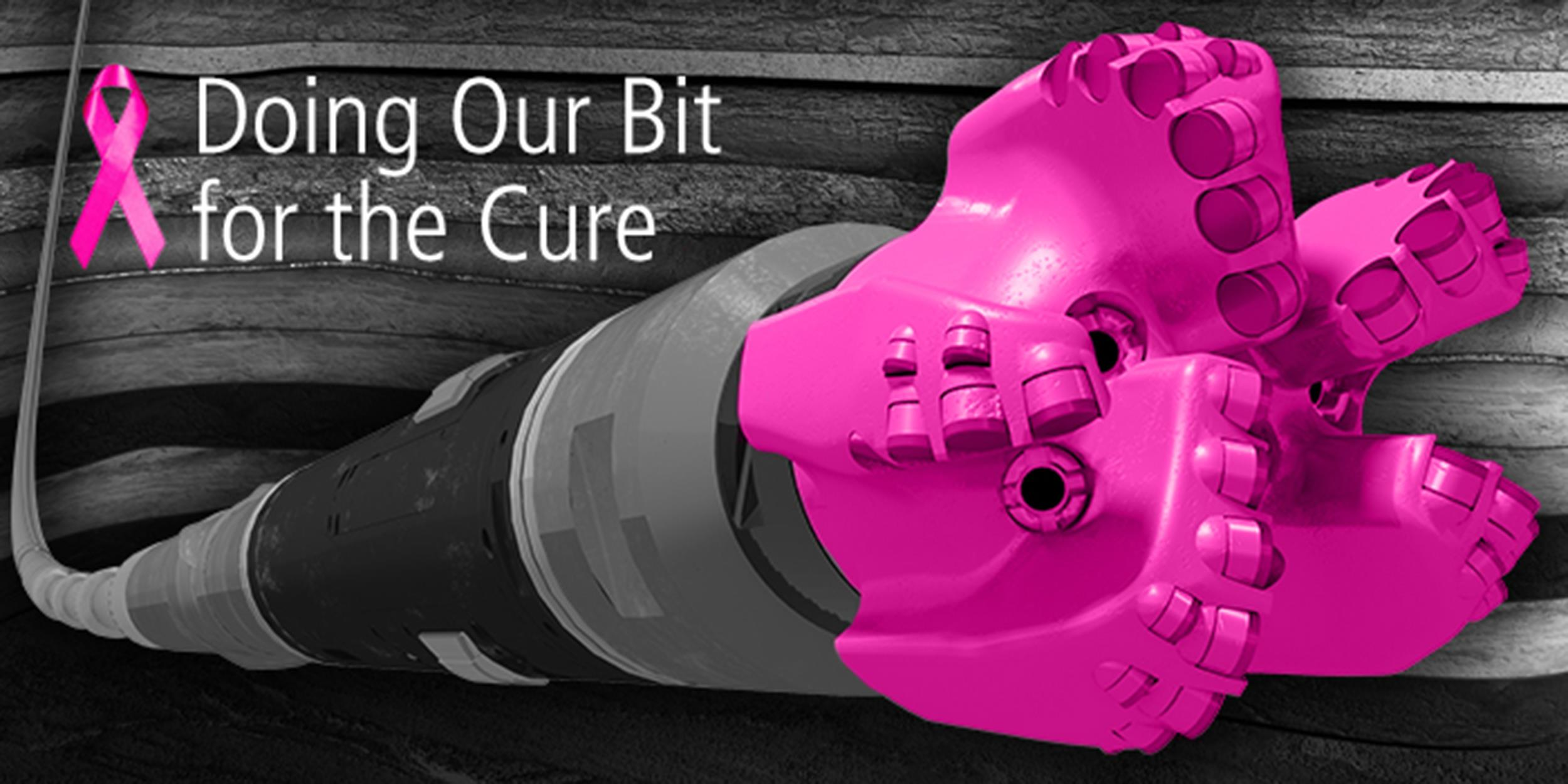 an illustration of a gray and black fracking machine with a pink head for Breast Cancer Awareness Month