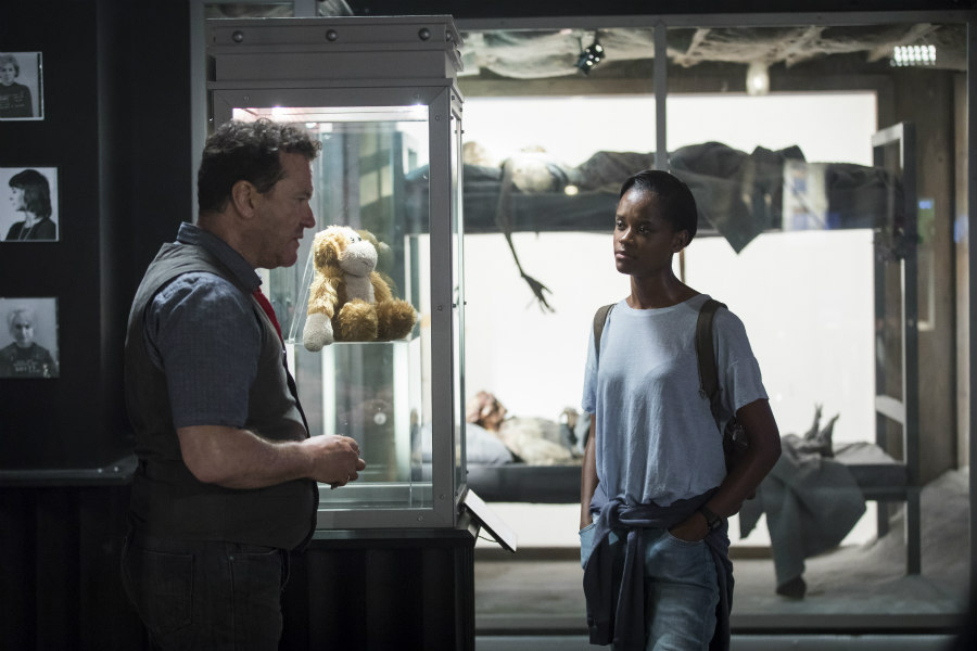 Douglas Hodge as Rolo Haynes and Letitia Wright as Nish in Black Mirror's Black Museum episode