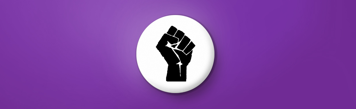 Black power fist button