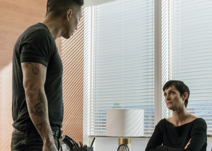 Terry Chen as Pryce Cheng and Carrie-Anne Moss as Jeri Hogarth in Marvel's Jessica Jones