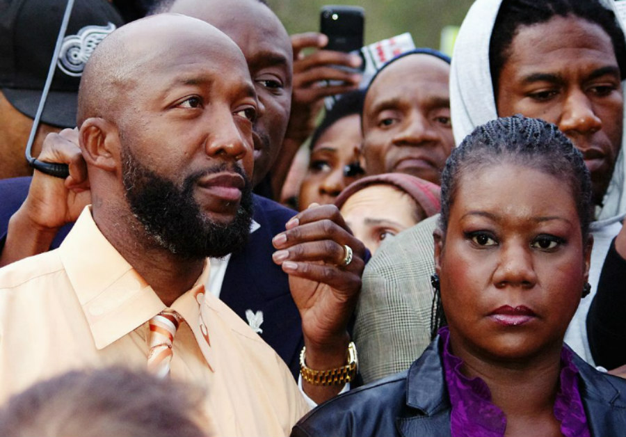Tracy Martin and Sybrina Fulton at a rally in Union Square, New York for Trayvon Martin