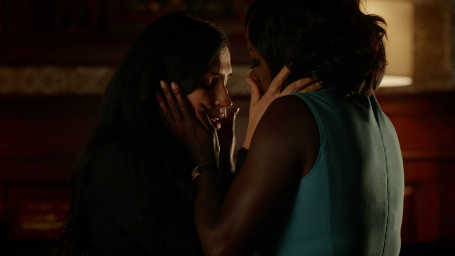 Viola Davis as Annalise Keating and Famke Janssen as Eve on How To Get Away With Murder