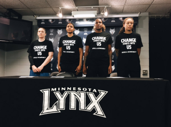 Minnesota Lynx wearing Black Lives Matter shirt