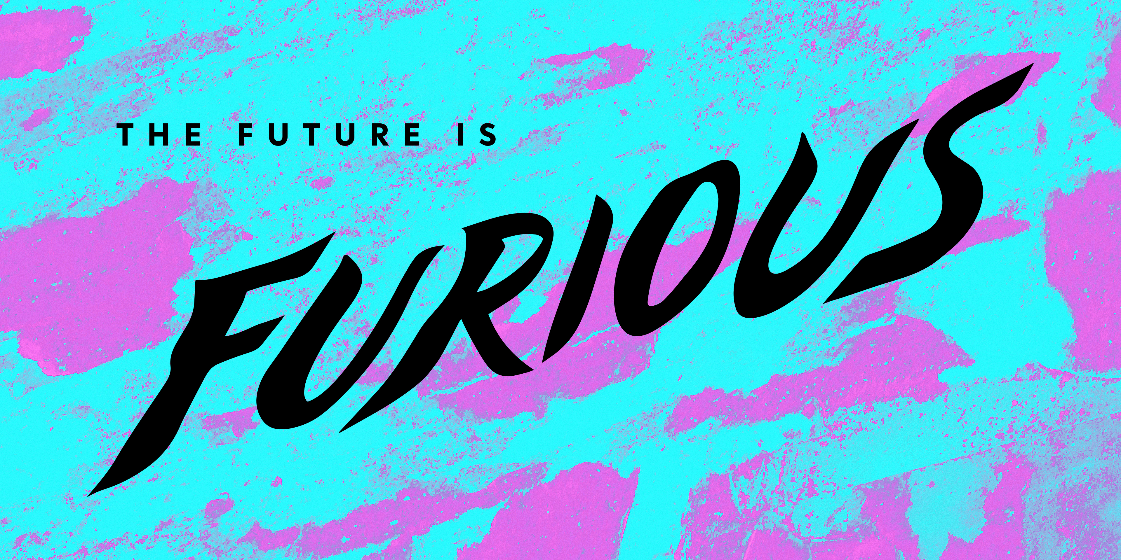 The Future is Furious title in black on a purple and cyan textured background