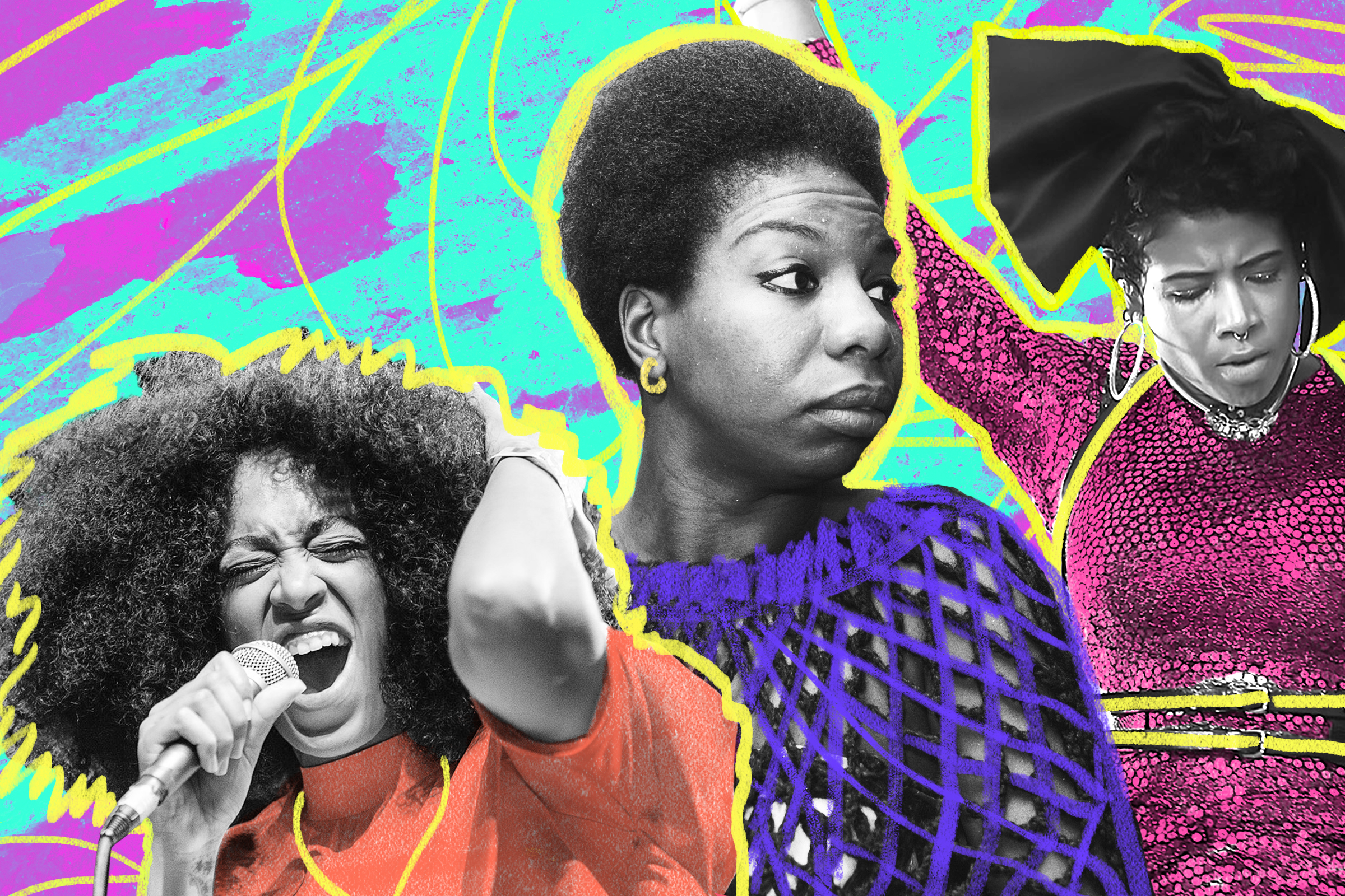 collage of Solange, Nina Simone, and Kelis on a multi colored background