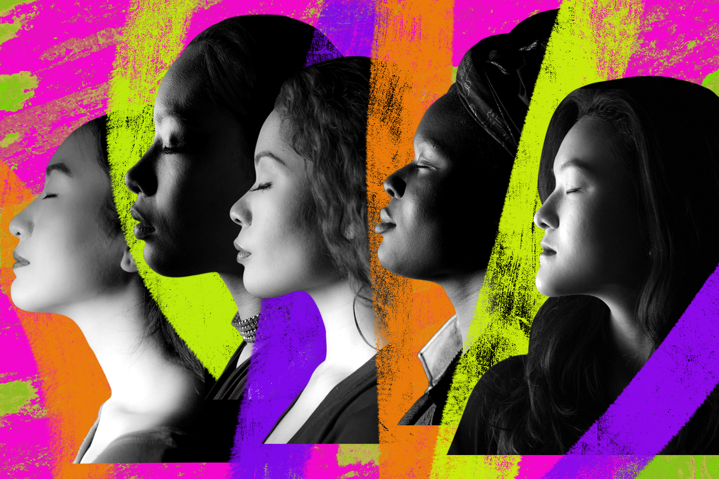 collage of different women's profiles in a row with their eyes closed on a multi-colored background