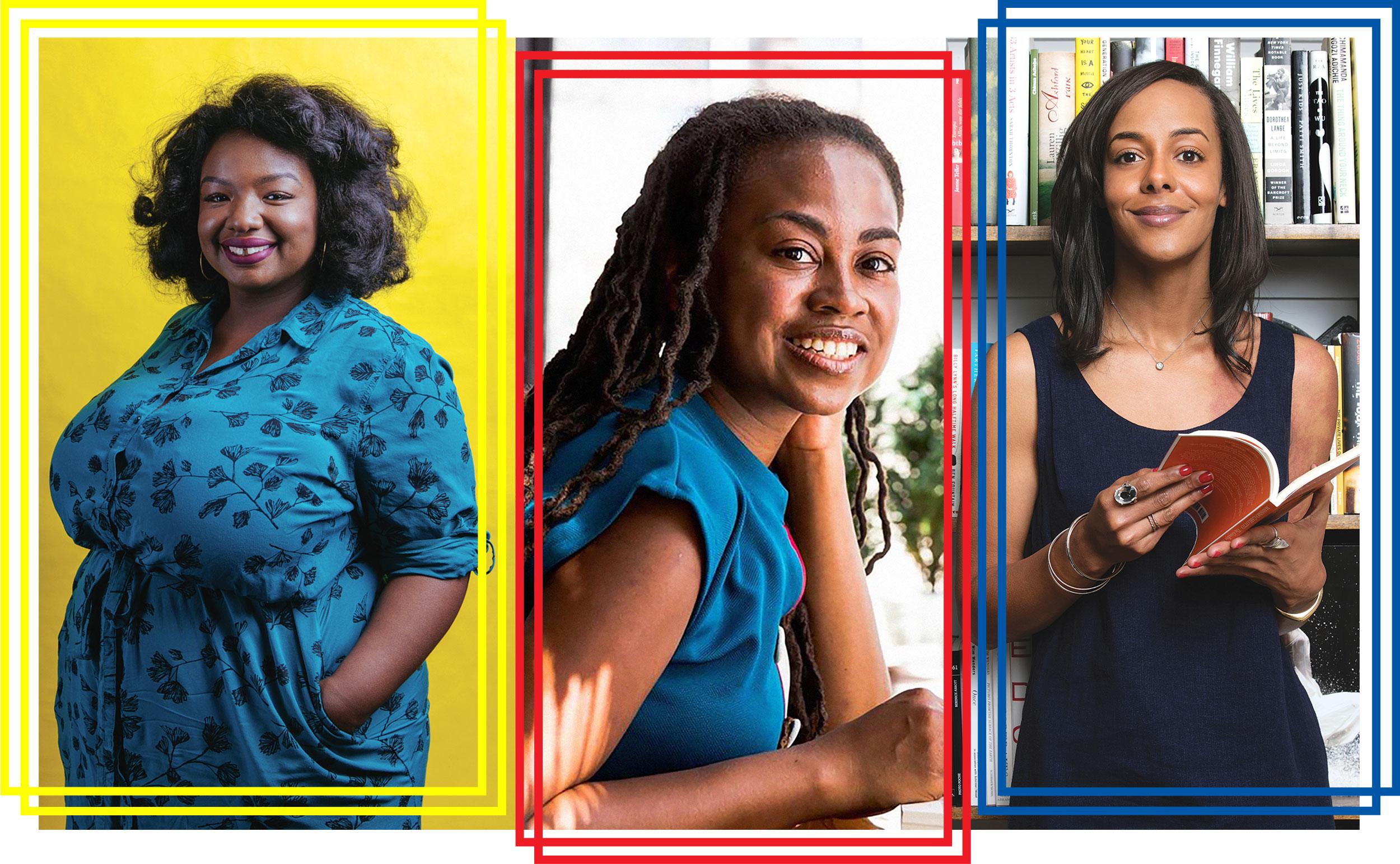 Portraits of three prominent Black women in publishing: Kima Jones, Jamia Wilson, and Lisa Lucas