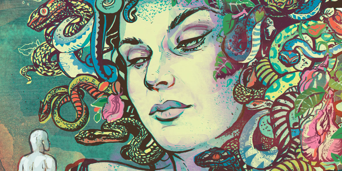 an illustration of a woman with colorful snakes on her head staring at a gray statue