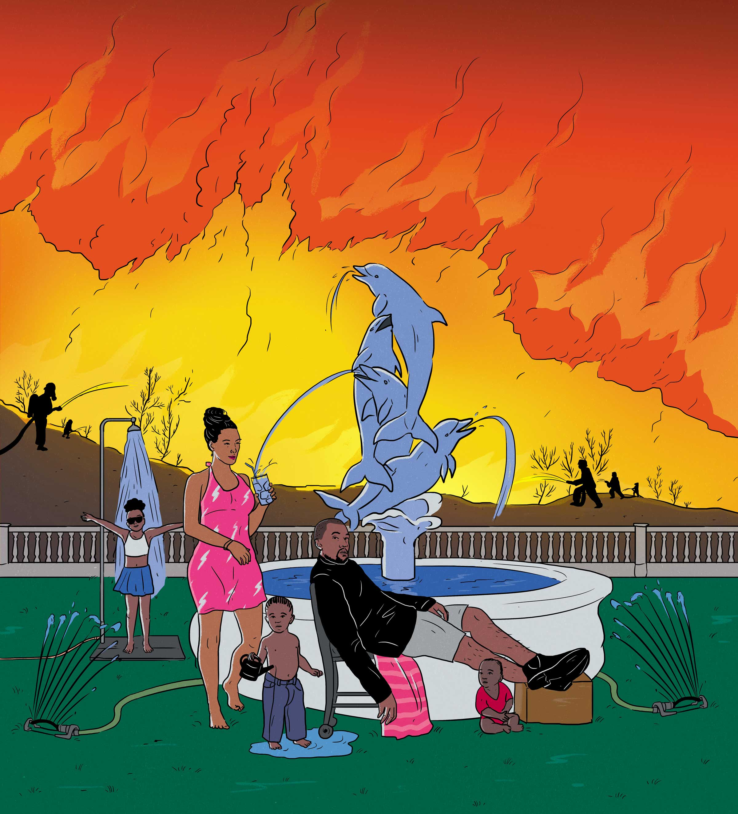 illustration of Kim Kardashian, Kanye West, and family on a grassy lawn, surrounding a fountain sculpture of dolphins, while firefighters fight a huge fire in the background
