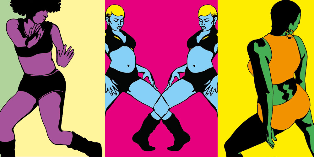 colorful illustration of Jamaican Dancehall dancers