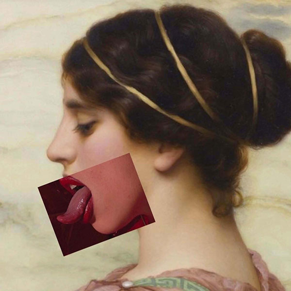 Renaissance painting of a white woman overlaid with a photo of an open mouth with tongue sticking out