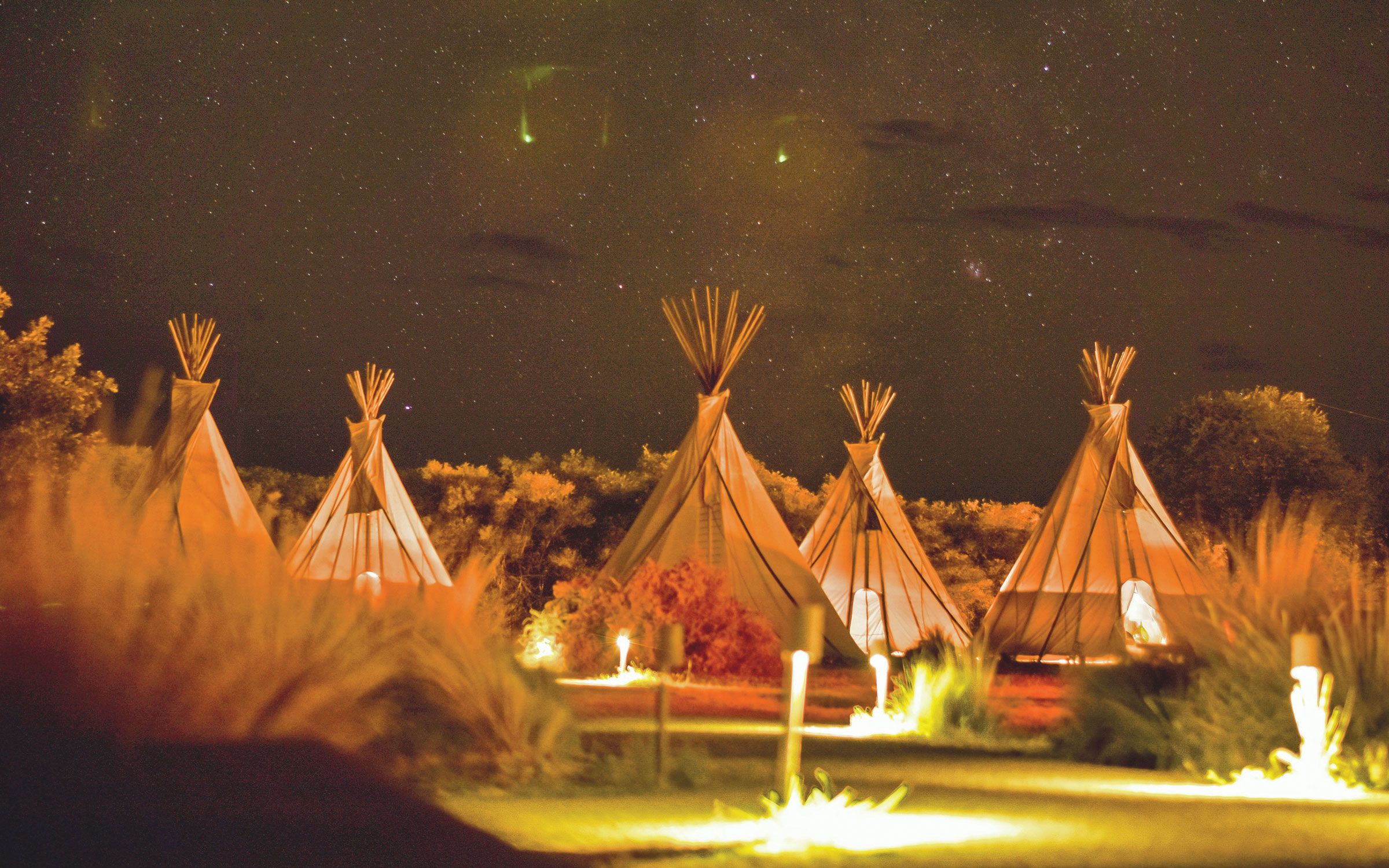 Sioux-style tepees at El Cosmico, a bohemian, nomadic hotel and campground in Marfa, Texas