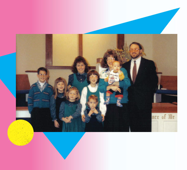 The author and her family at church wearing matching outfits, photo accompanied by 80s graphics