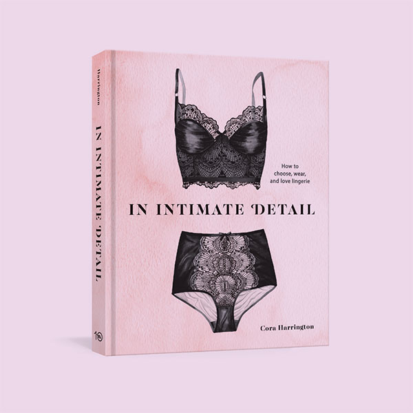 In Intimate Detail, a pink book cover that features a photograph of a black bustier