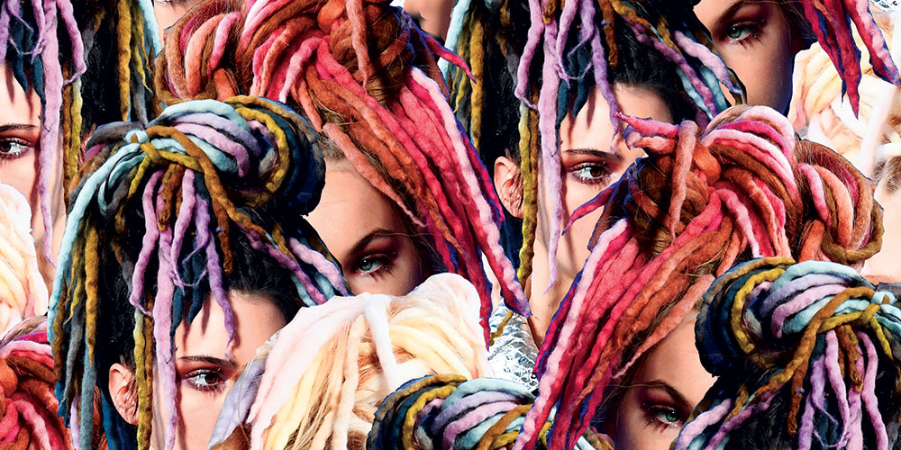 Digital collage of white women wearing colorful locs