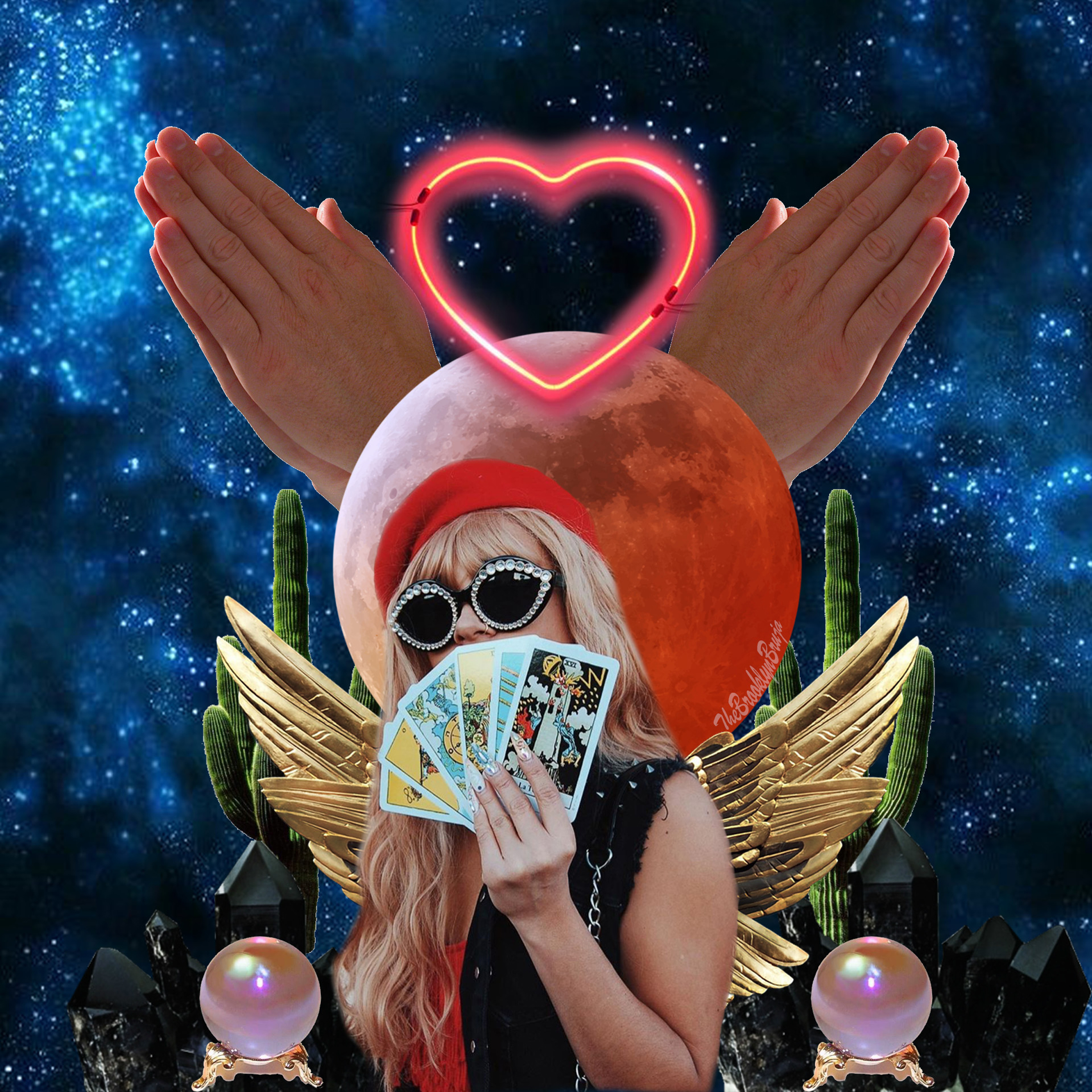 collage image of astrology-related elements with bruja, Valeria Ruelas, in the center wearing sunglasses and holding a fan of tarot cards in front of her face