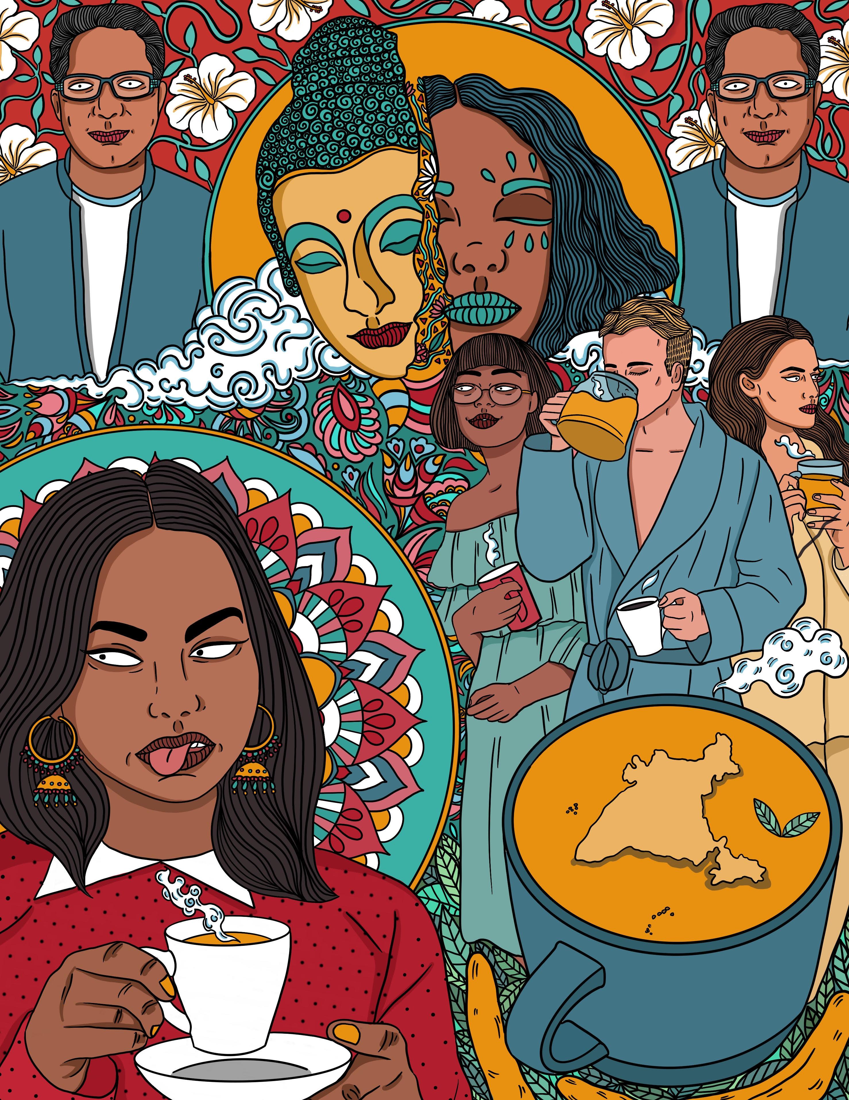 illustration of wellness motifs like turmeric lattes, Guatama Buddha, Deepak Chopra, among images of brown and white people