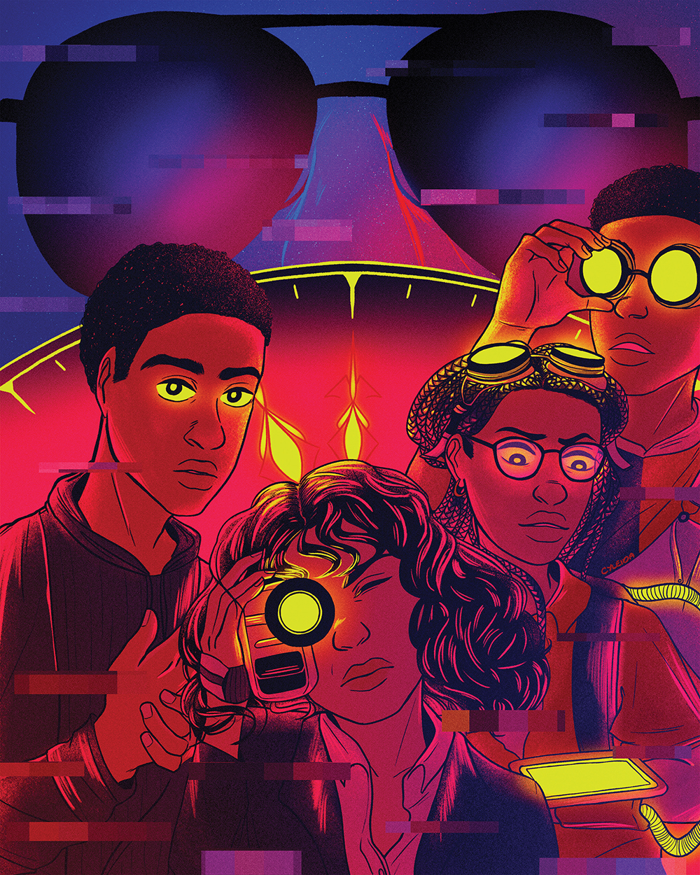illustration of four fictional Black characters from time travel-related films and TV shows