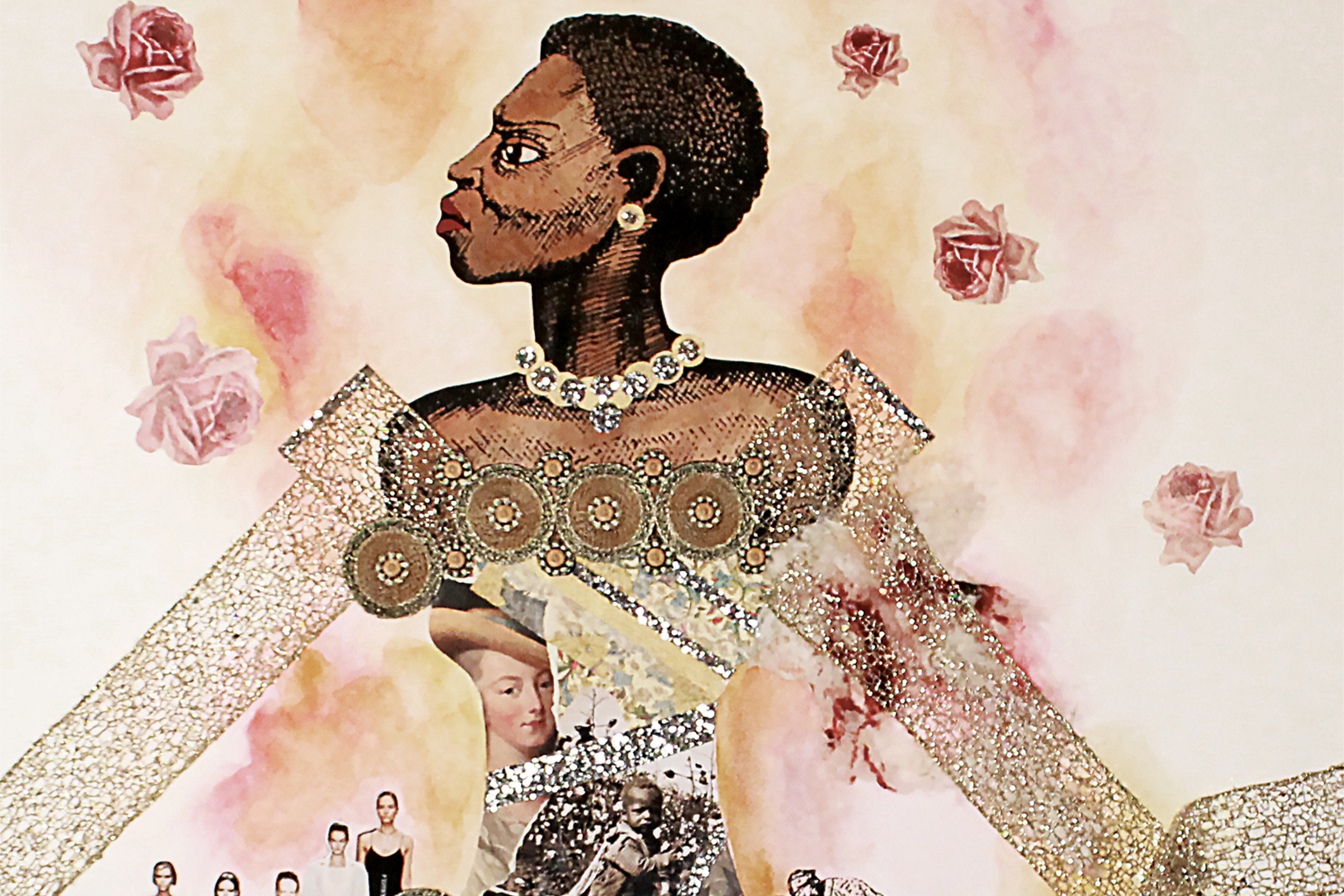 collage of a black woman in a wedding dress constructed in cotton, fashion magazines, slave notices and vintage slave photography