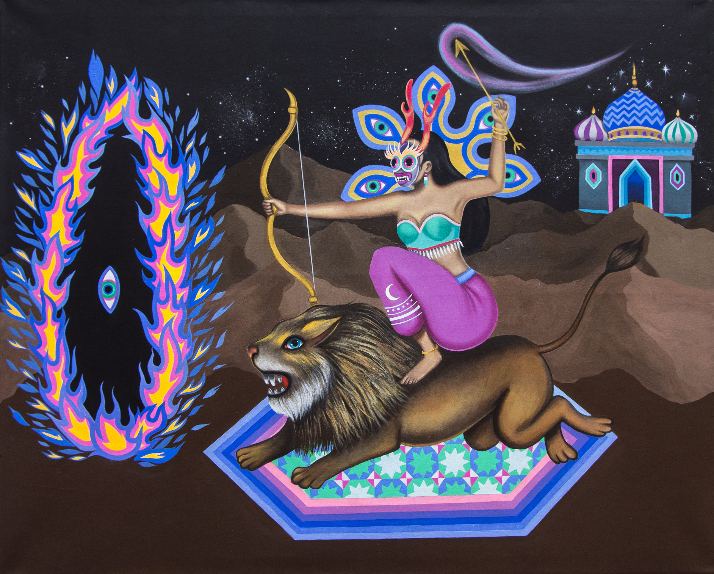 painting of a warrior woman riding a lion about to shoot an arrow into a distant floating eye surrounded by a ring of fire