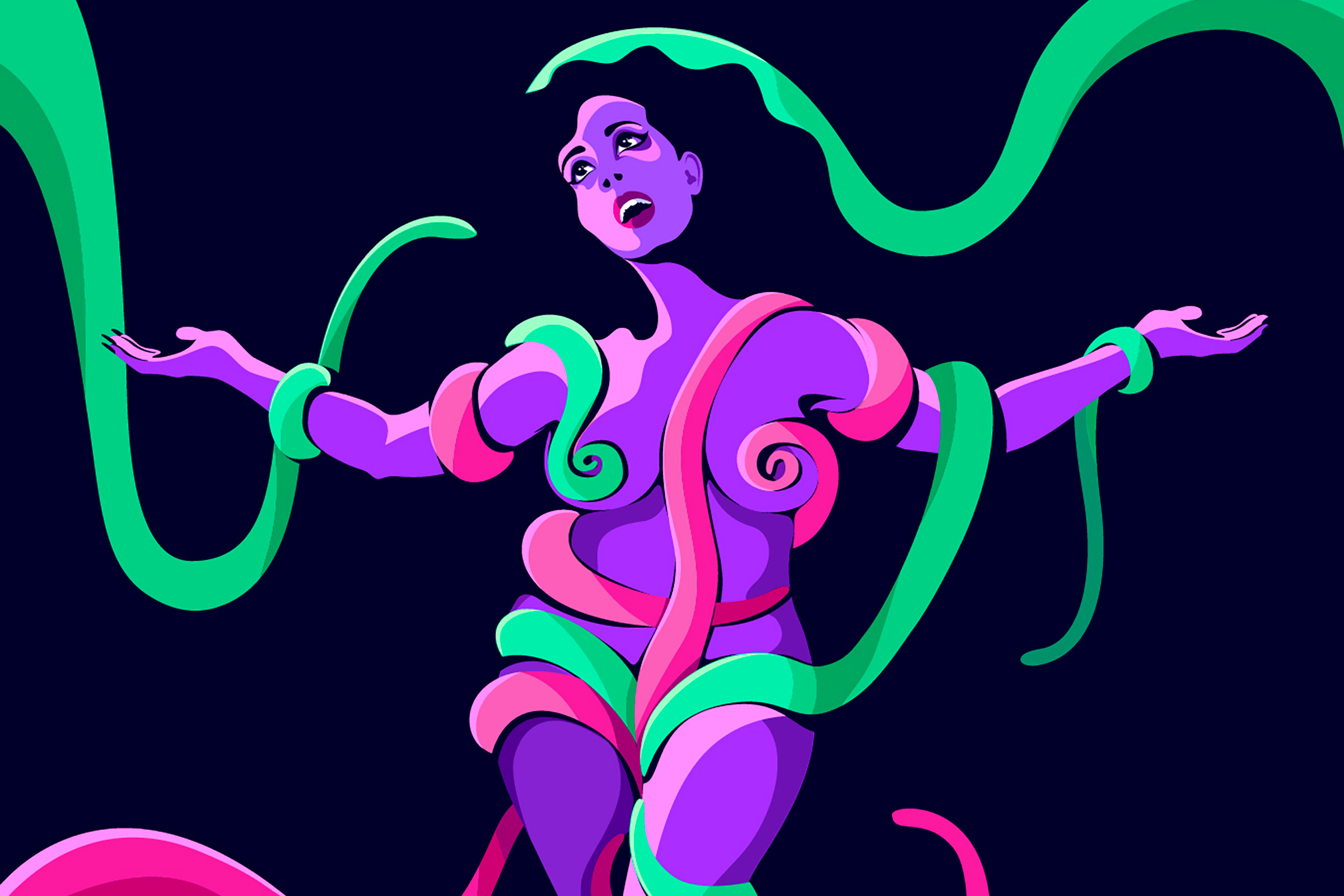 illustration of a nude, curvy, purple female figure wrapped in pink and green tentacles