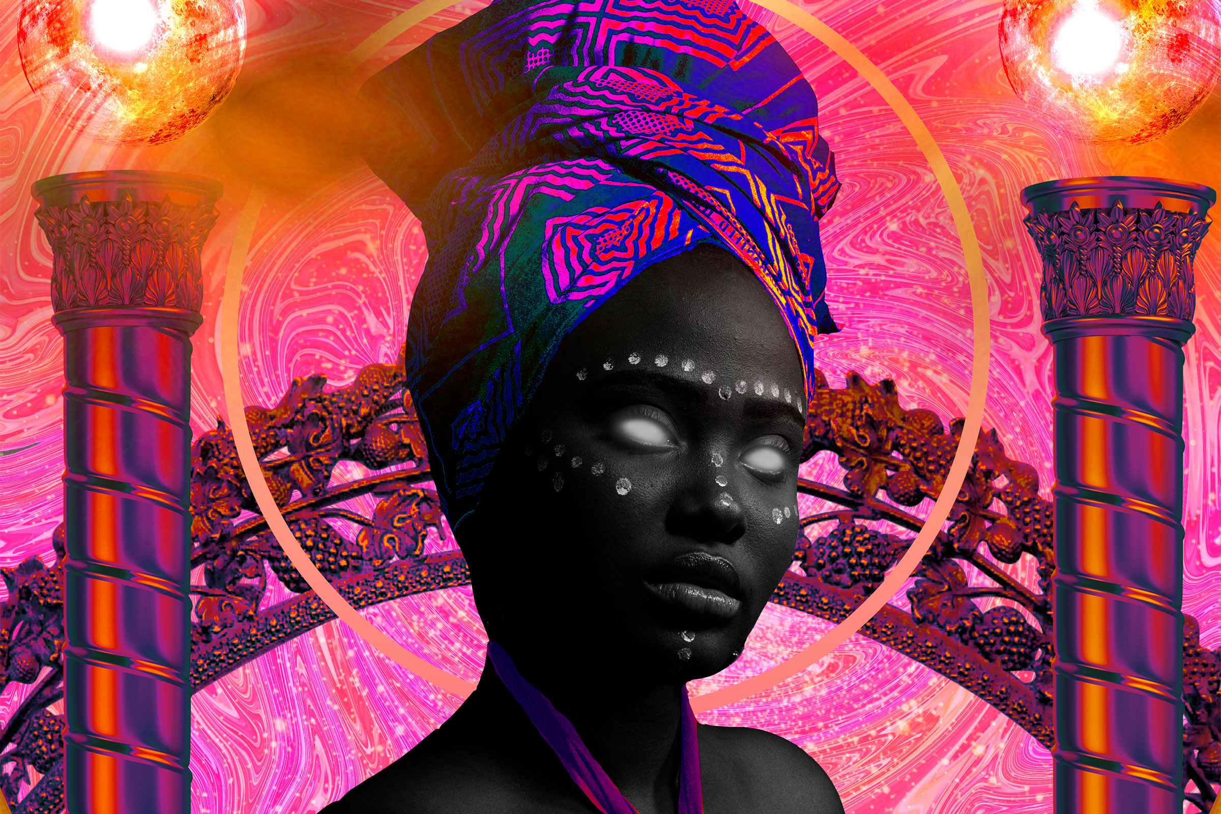 Black woman with white eyes wearing an African headdress in a pink futuristic collaged world