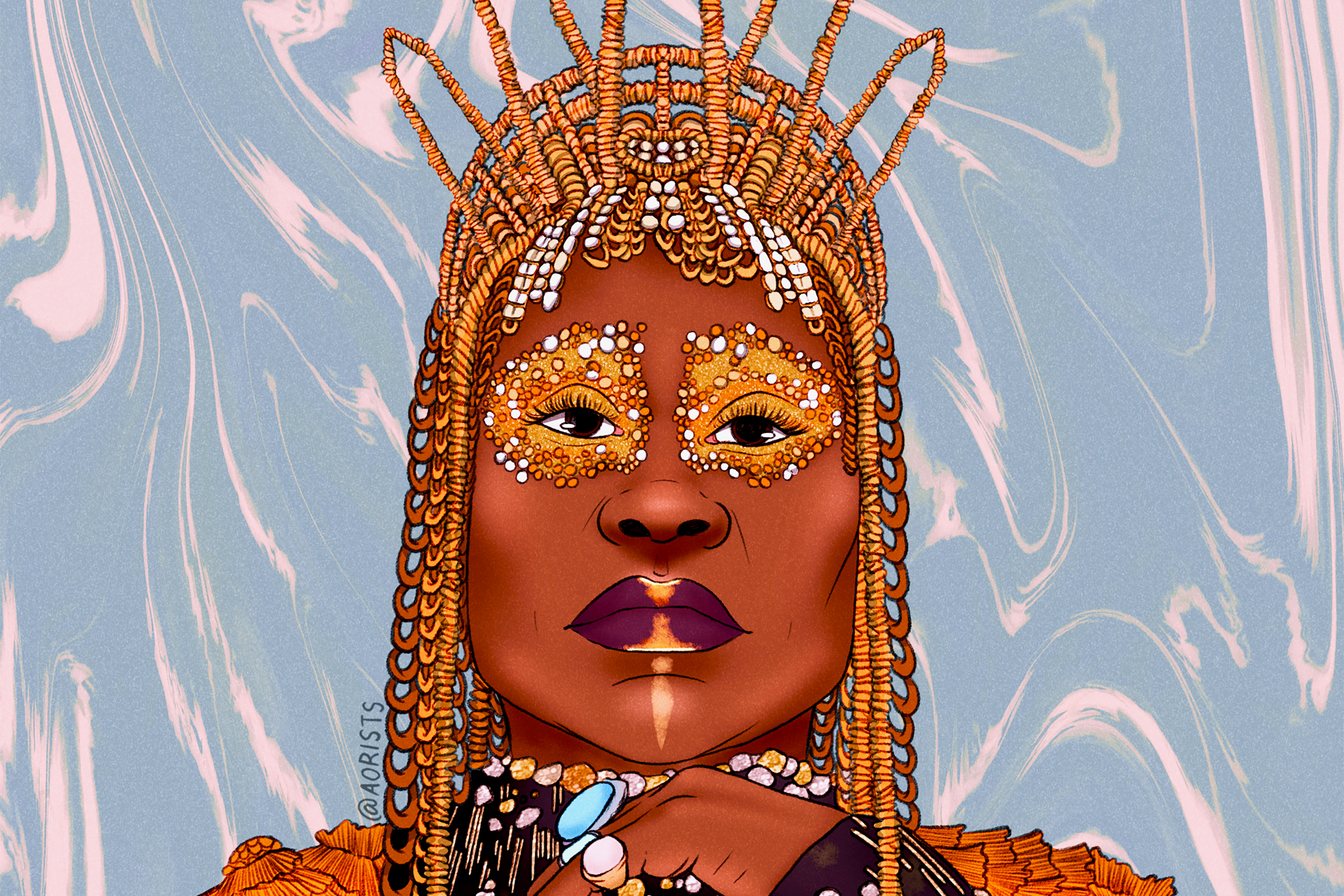 Illustration of Billy Porter, a thin, Black man, against a marble swirled background wearing a tiara with jewels around his eyes