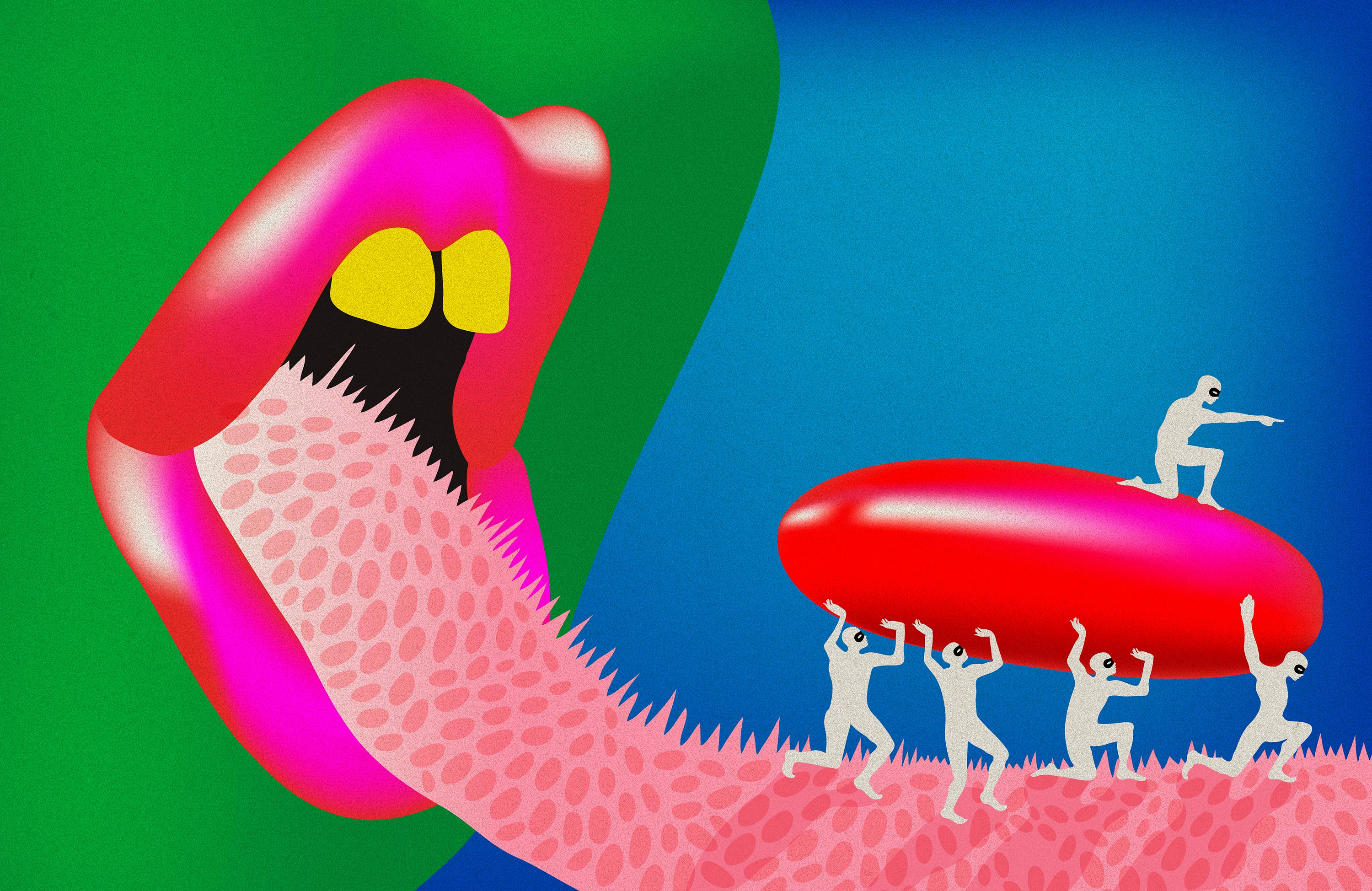 illustration of a colorful open mouth sticking out a long spiky tongue as a group of white figures carry a large red pill.