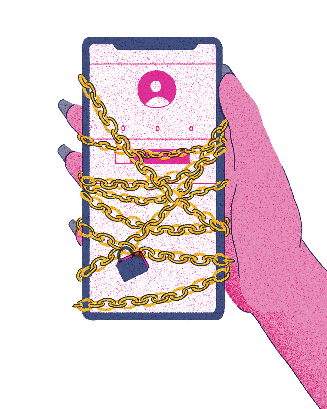 illustration of a hand with acrylic nails holding a cell phone