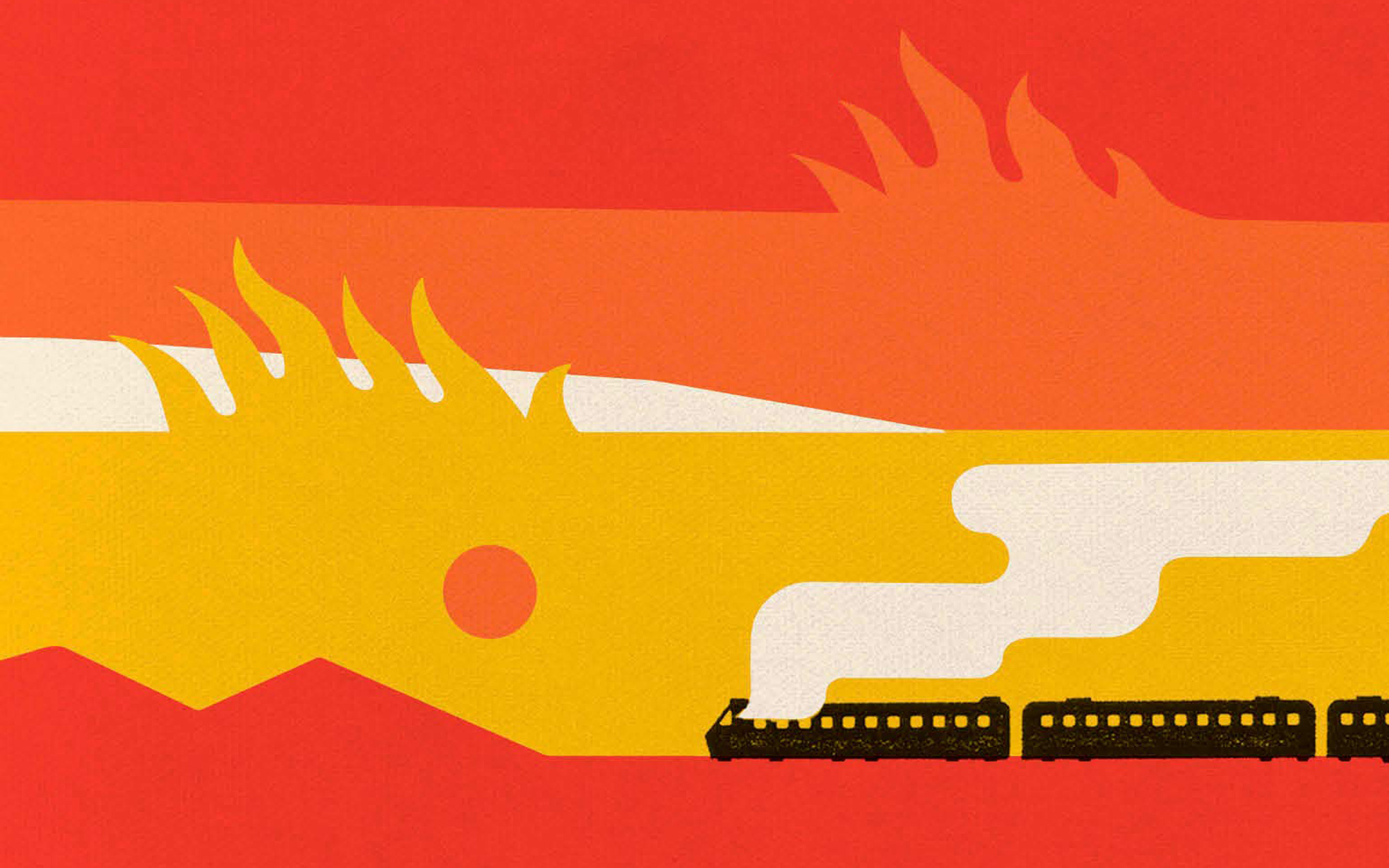 A Burning, red, yellow, and orange book cover that features an illustration of a train engulfed in smoke