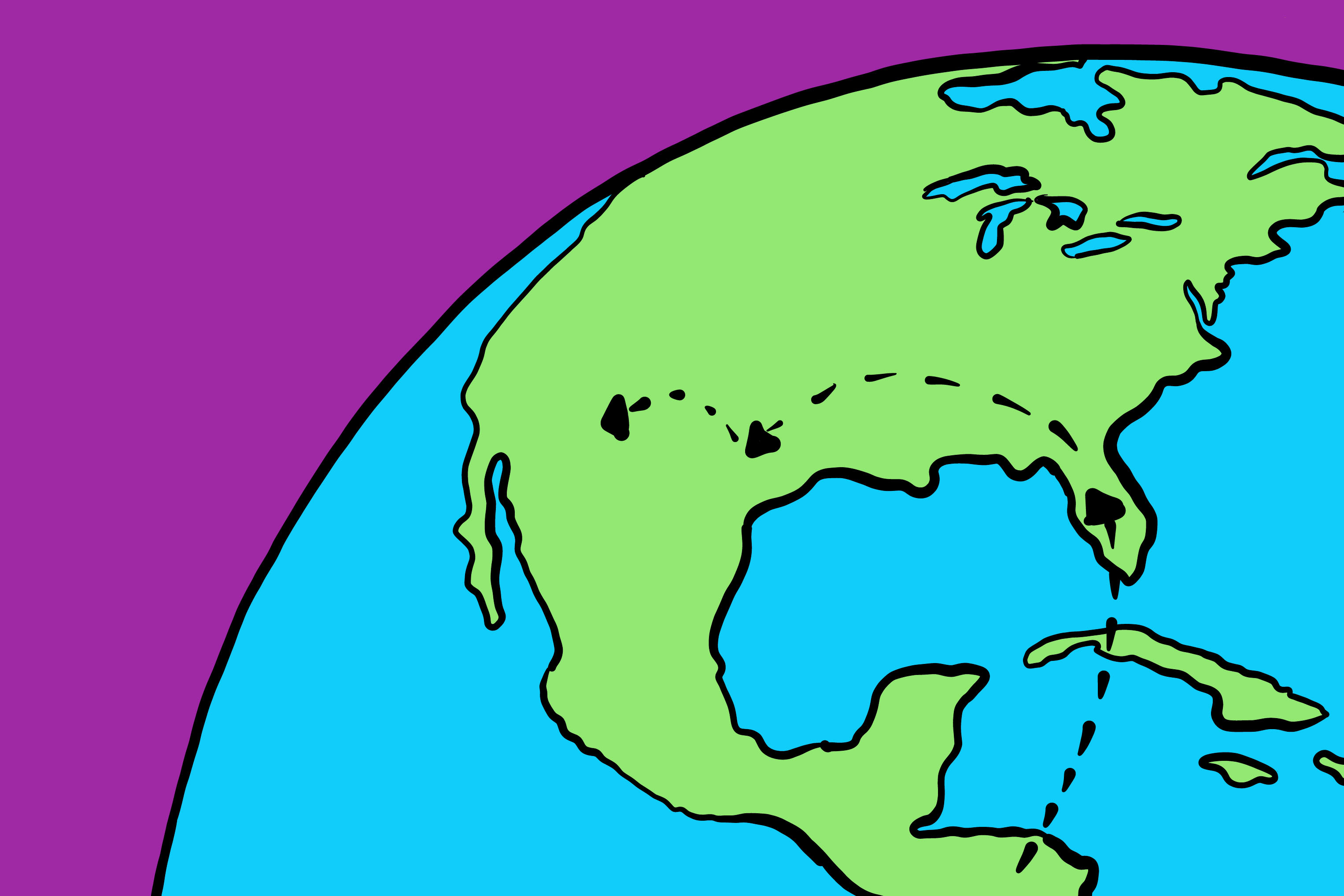 illustration of the earth on a purple background showing a dotted line that starts in Honduras with stopping points across the United States