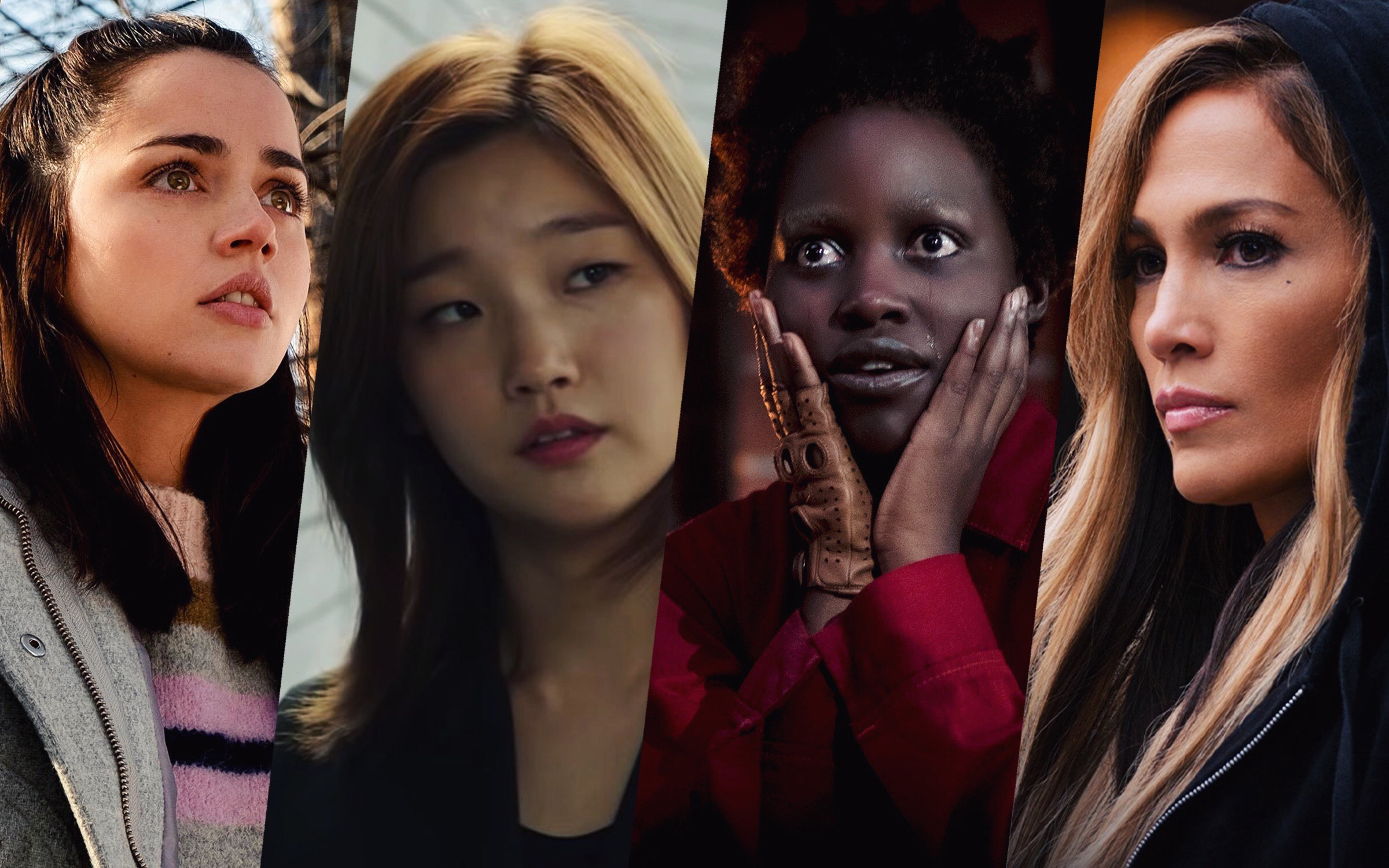 a side-by-side collage of four actresses: Ana de Armas, Park So-dam, Lupita Nyong'o, and Jennifer Lopez