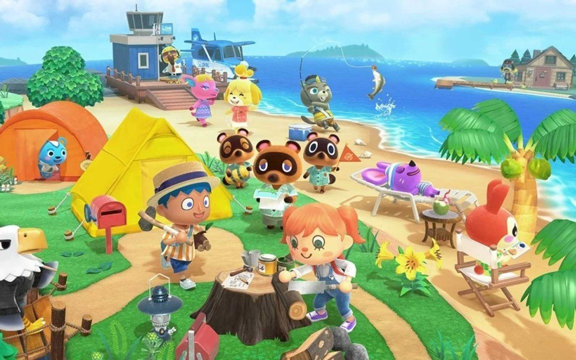 A wide range of Animal Crossing characters, including human villagers and animal neighbors, on an island surrounded by beach and a boat.