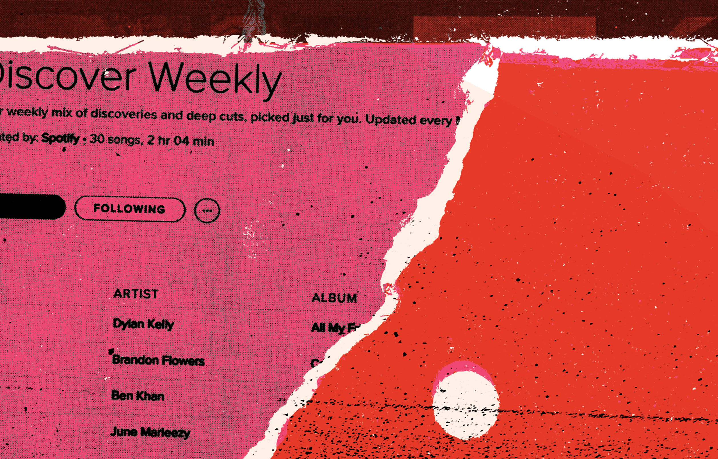 pink and red, textured illustration of collaged music playlist images