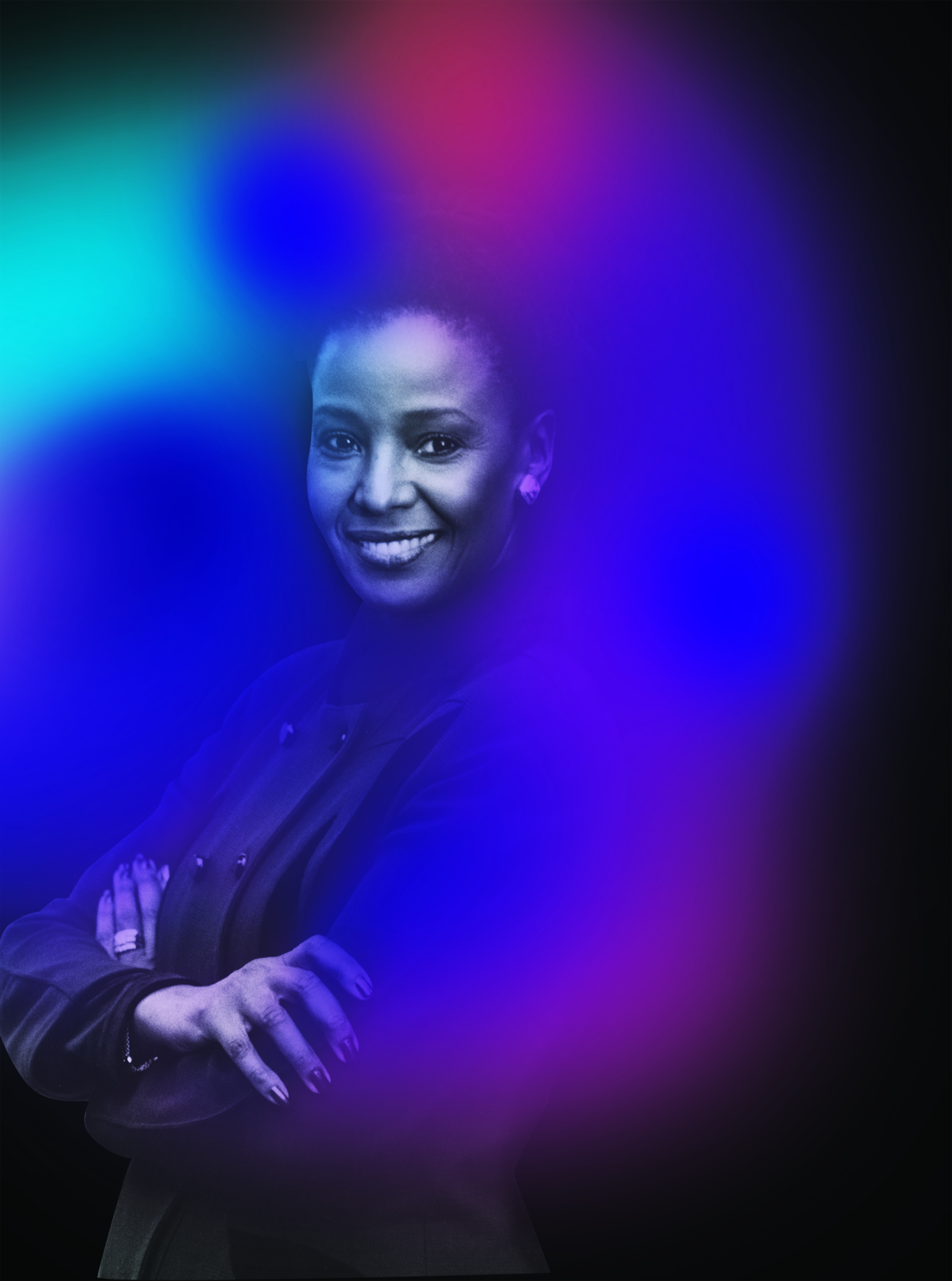 American restaurateur B. Smith with abstract aura photography colors