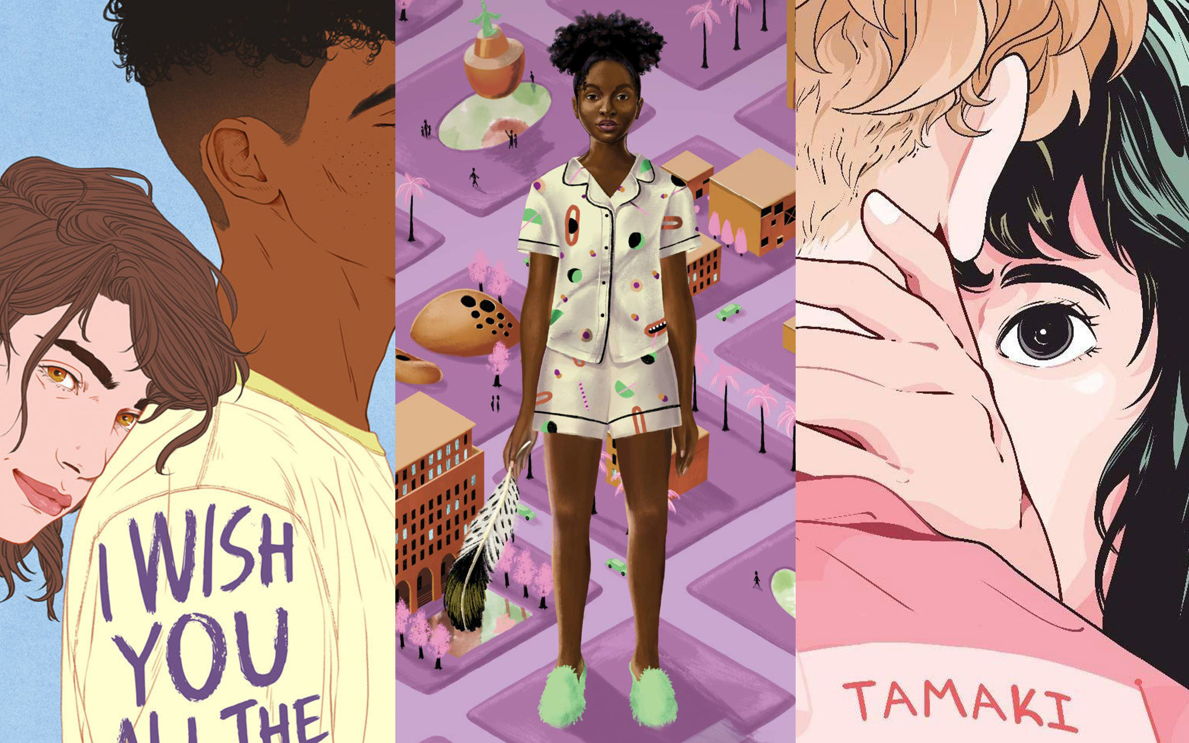 Close up images from three books, including an image of a white nonbinary person leaning their head on a brown boy's shoulder; a Black girl in pajamas with natural hair; a pair of queer girls standing close to each other, one's hand on the other's neck.
