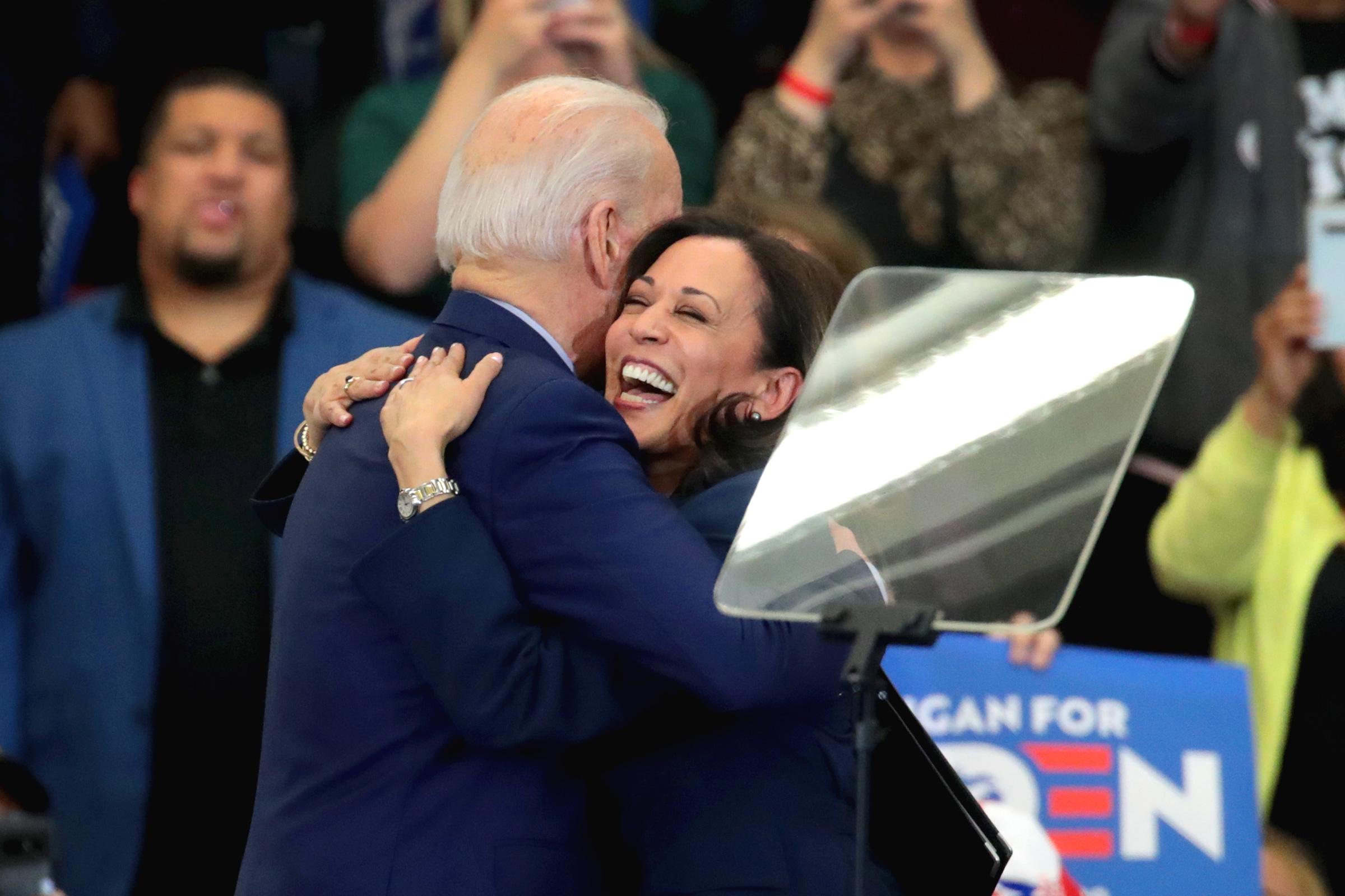 Sen. Kamala Harris hugs Democratic presidential candidate former Vice President Joe Biden.