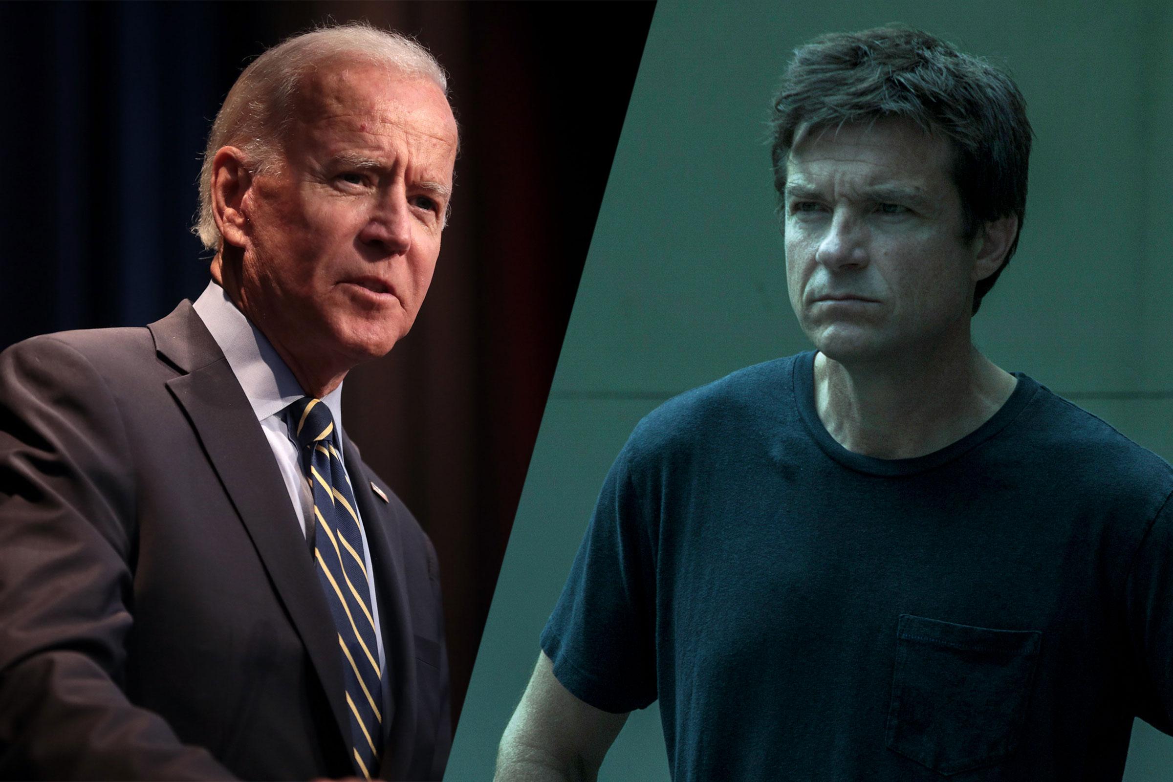 Joe Biden, a white man with short, white hair, stands next to Jason Bateman, a white man portraying Marty Byrde, in Ozark