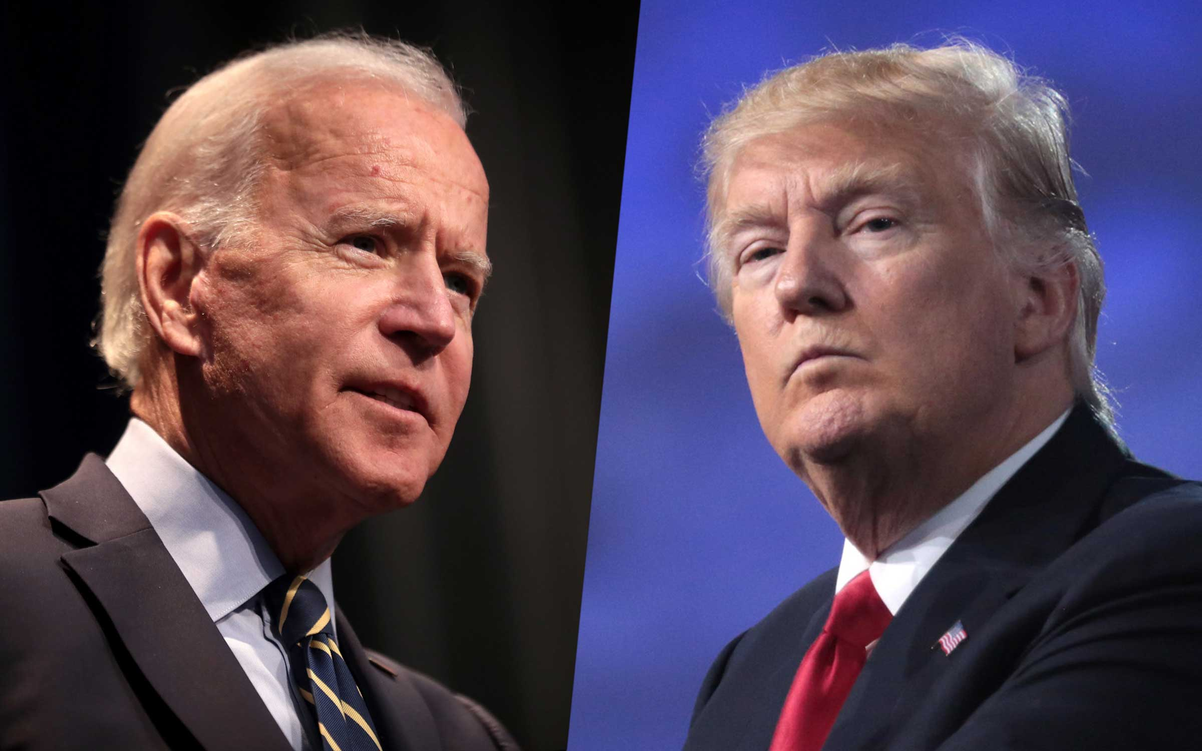 Joe Biden and Donald Trump, both old white men, in a collage. Biden is speaking, and Trump looks bothered.