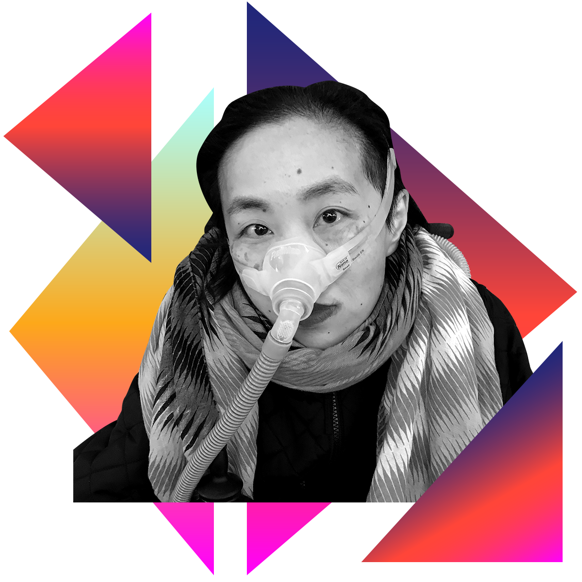 Photo illustration of Alice Wong in black and white surrounded by colored gradients