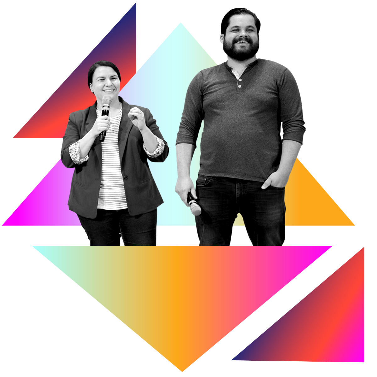 Photo illustration of Charlotte and Dave Willner in black and white surrounded by colored gradients