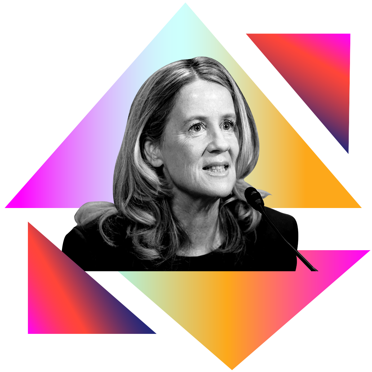 Photo illustration of Dr. Christine Blasey Ford in black and white surrounded by colored gradients
