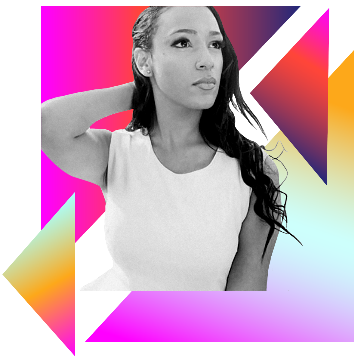 Photo illustration of Jade Ogunnaike in black and white surrounded by colored gradients