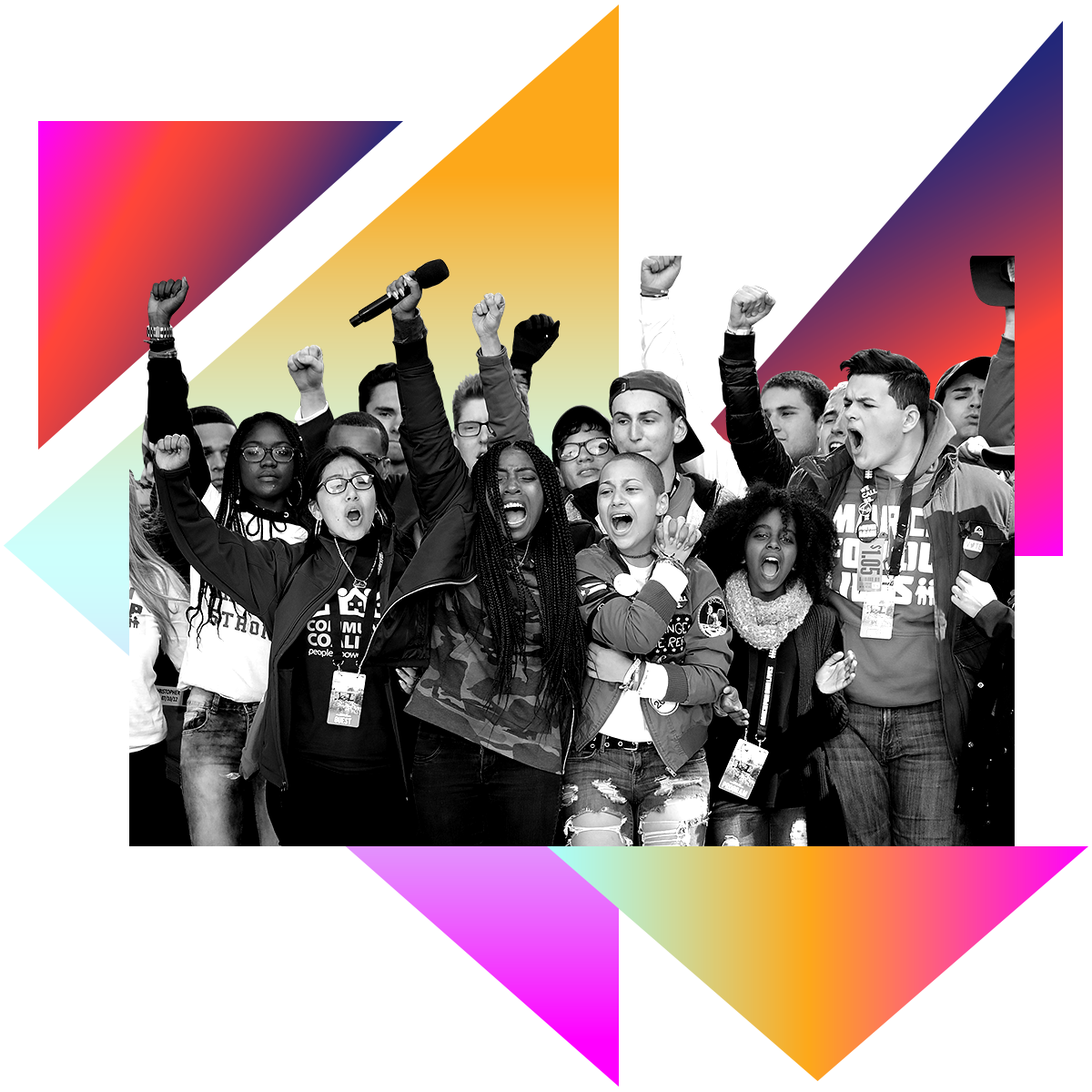 Photo illustration of a group of students with their fists in the air at the  March 4 Our Lives in black and white surrounded by colored gradients