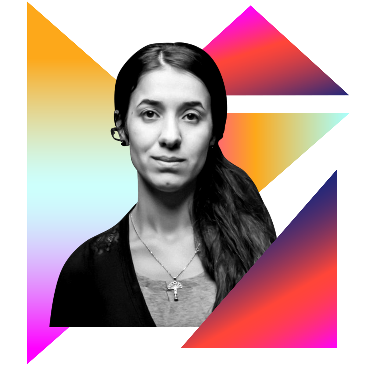 Photo illustration of Nadia Murad in black and white surrounded by colored gradients