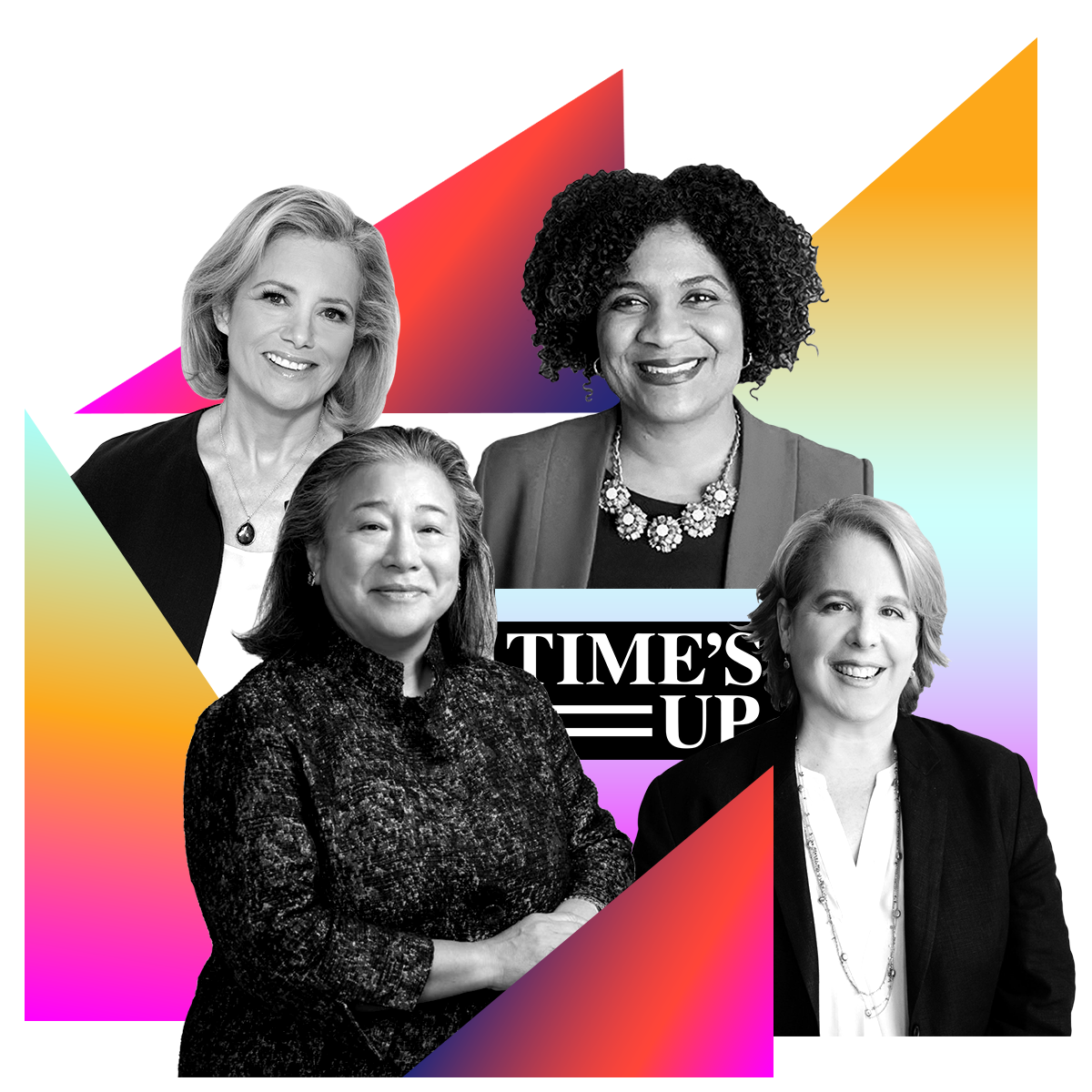 Photo illustration of Hilary Rosen, Fatima Goss Graves, Roberta Kaplan, and Christina M. Tchen (Time's Up Legal Defense Fund) in black and white surrounded by colored gradients