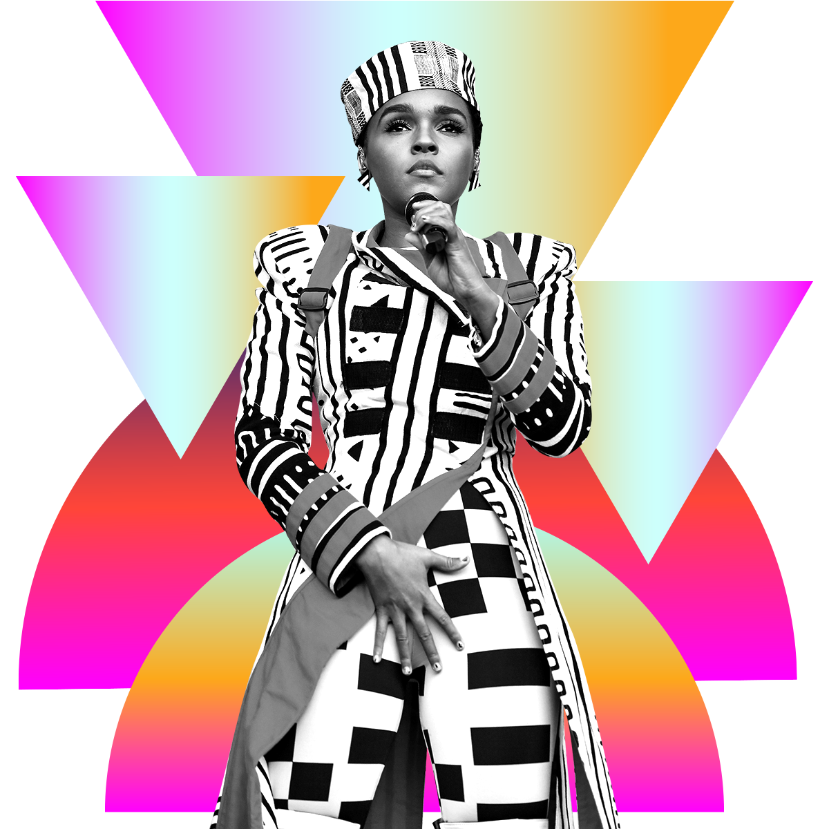 Photo illustration of Janelle Monáe in black and white surrounded by colored gradients